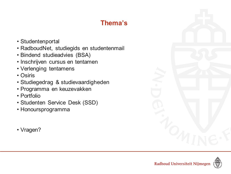 Thema's Studentenportal RadboudNet, studiegids en studentenmail