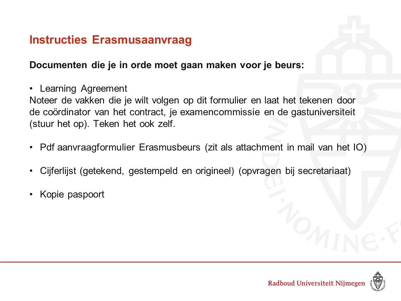 Instructies Erasmusaanvraag