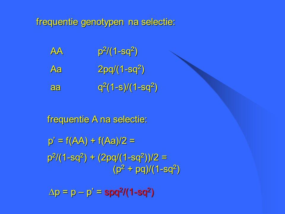 frequentie genotypen na selectie: