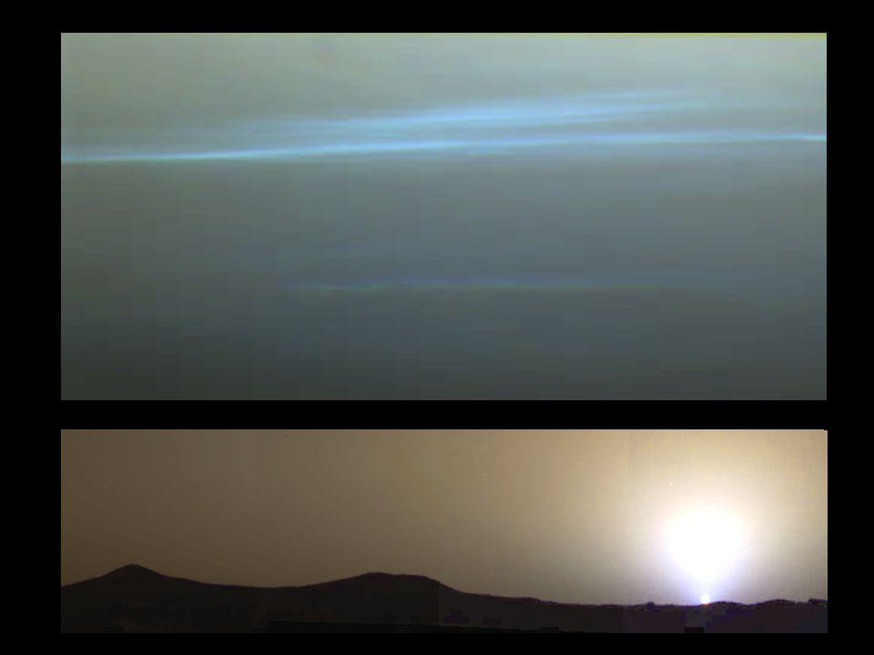 Pathfinder opnames: wolken (waterijskristallen) op 10-15 km hoogte zien er blauw uit, tegen een donkerder achtergrond.