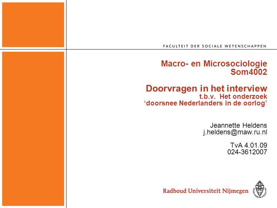 Macro- en Microsociologie Som4002 Doorvragen in het interview t. b. v