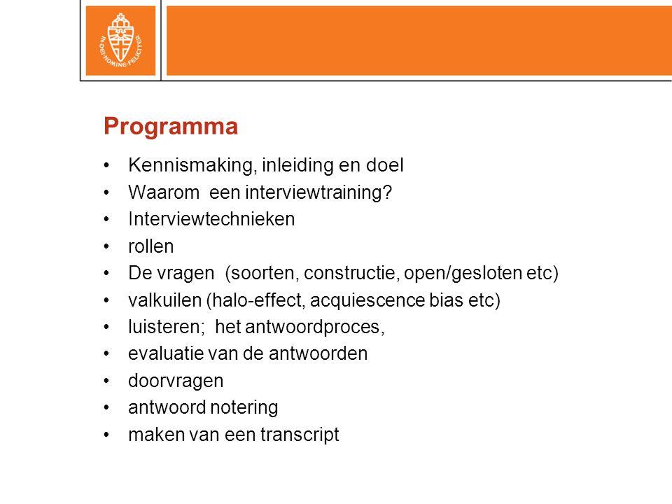 Programma Kennismaking, inleiding en doel