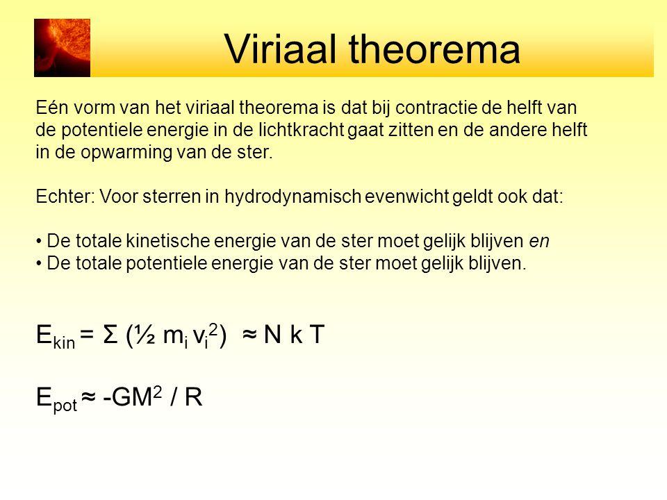 Viriaal theorema Ekin = Σ (½ mi vi2) ≈ N k T Epot ≈ -GM2 / R