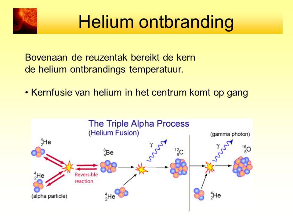 Helium ontbranding Bovenaan de reuzentak bereikt de kern