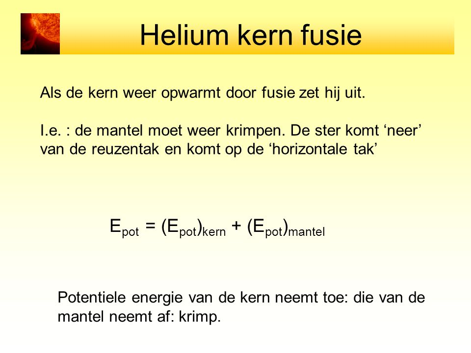Helium kern fusie Epot = (Epot)kern + (Epot)mantel