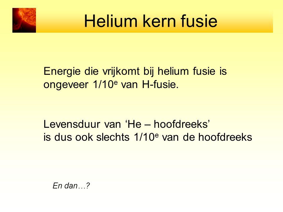 Helium kern fusie Energie die vrijkomt bij helium fusie is