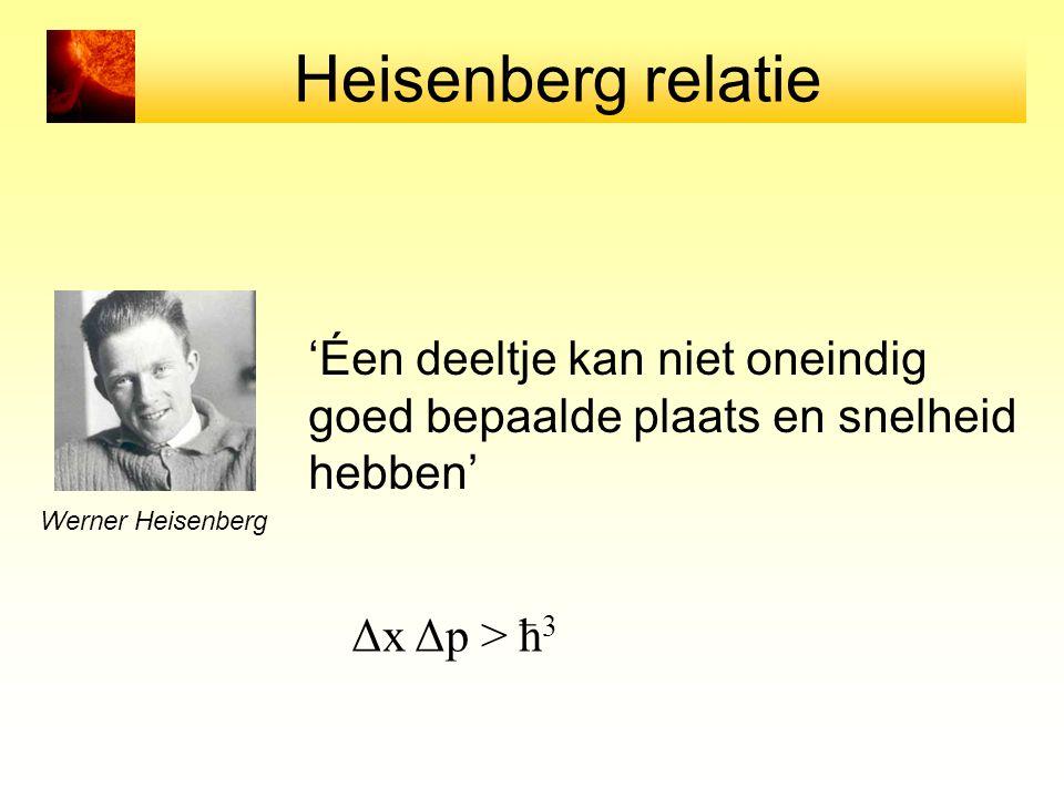 Heisenberg relatie 'Éen deeltje kan niet oneindig