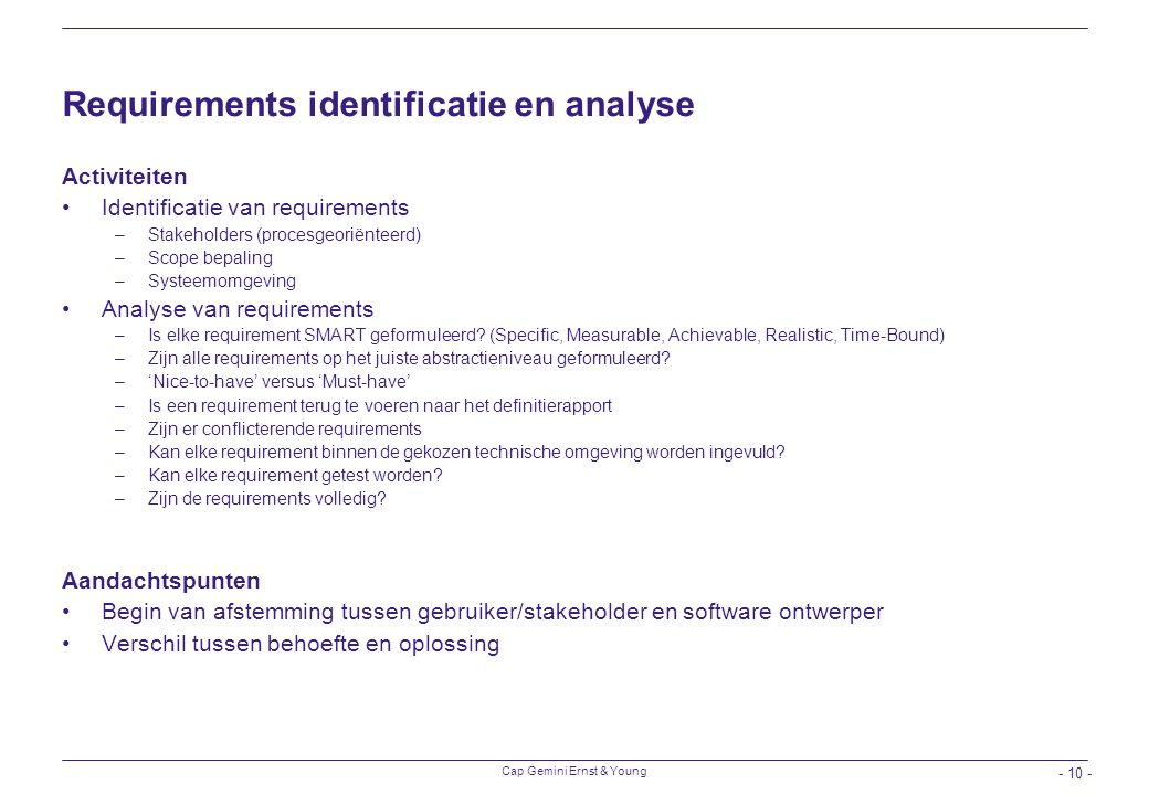 Requirements identificatie en analyse