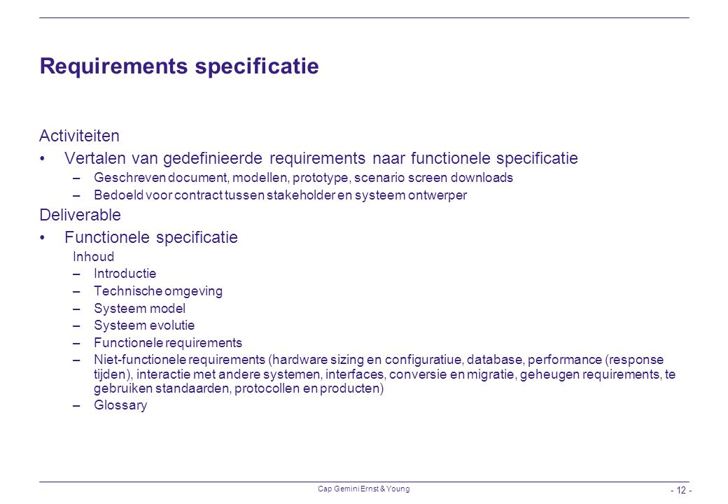 Requirements specificatie