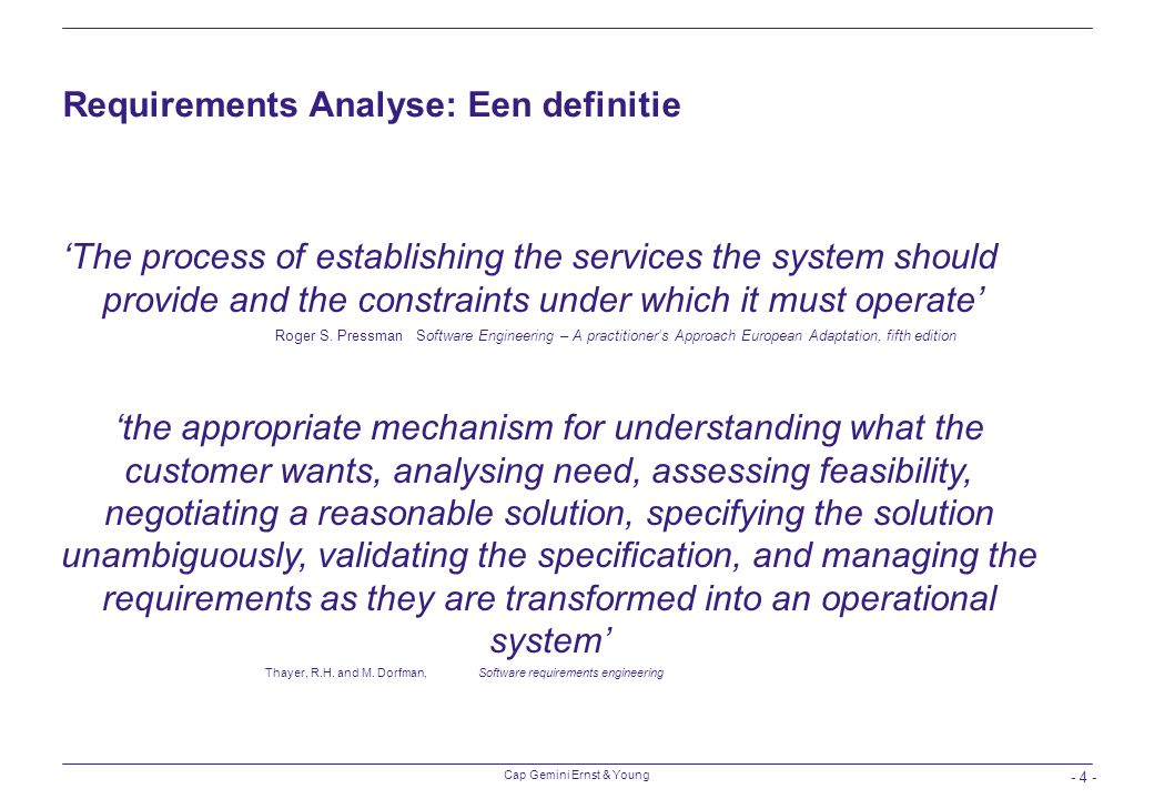 Requirements Analyse: Een definitie