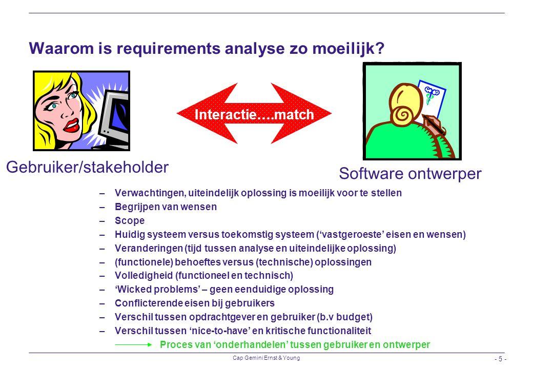 Waarom is requirements analyse zo moeilijk