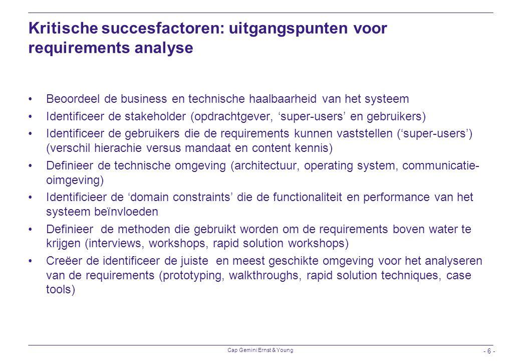 Kritische succesfactoren: uitgangspunten voor requirements analyse