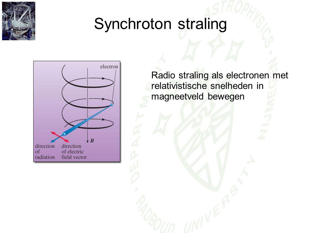 Synchroton straling Radio straling als electronen met