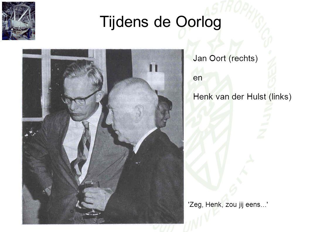 Tijdens de Oorlog Jan Oort (rechts) en Henk van der Hulst (links)