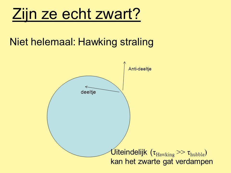Zijn ze echt zwart Niet helemaal: Hawking straling