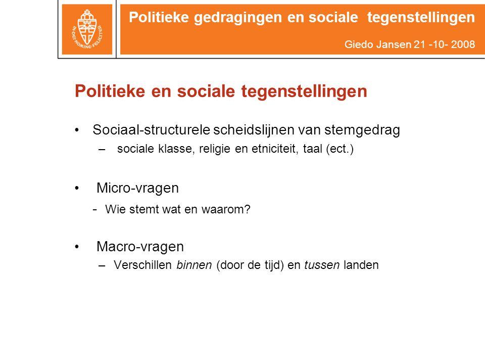 Politieke en sociale tegenstellingen