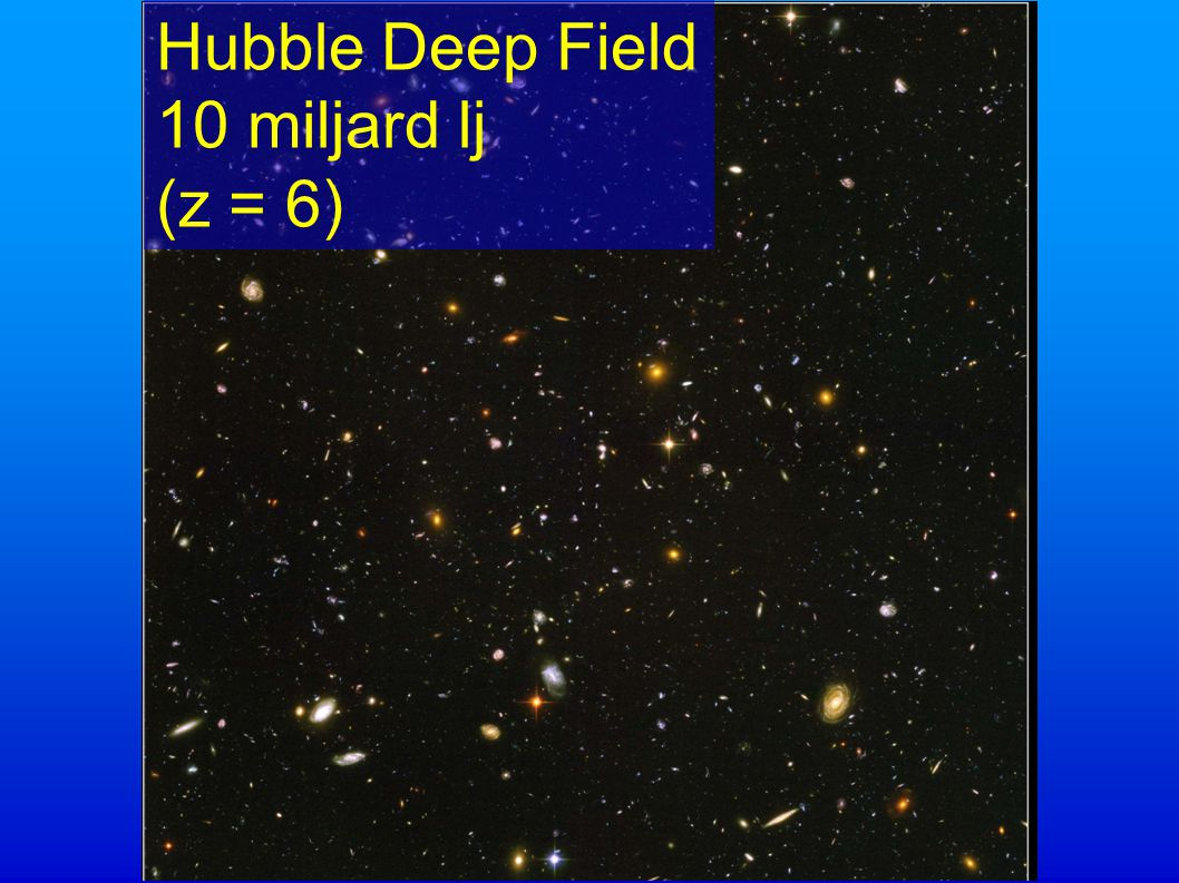 Hubble Deep Field 10 miljard lj (z = 6) Hubble Deep Field 10 miljard lj