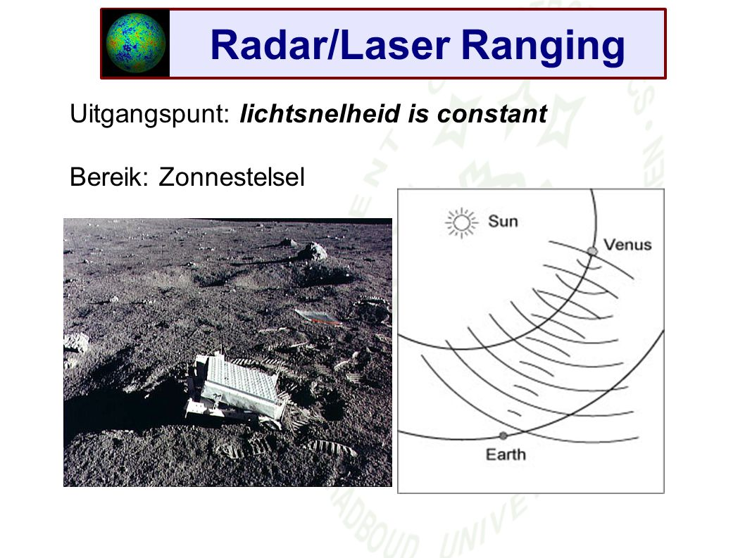 Radar/Laser Ranging Uitgangspunt: lichtsnelheid is constant