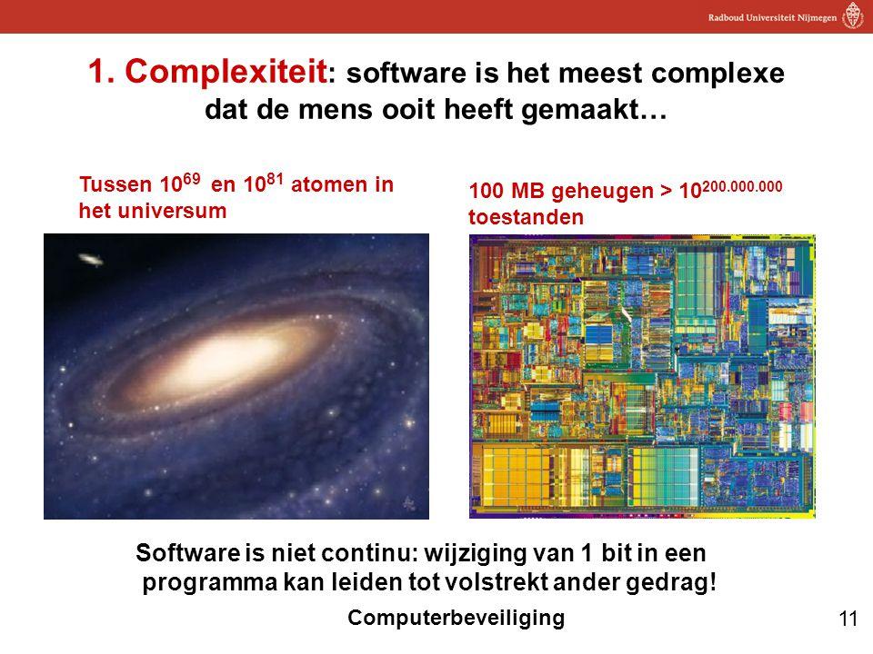 1. Complexiteit: software is het meest complexe dat de mens ooit heeft gemaakt…