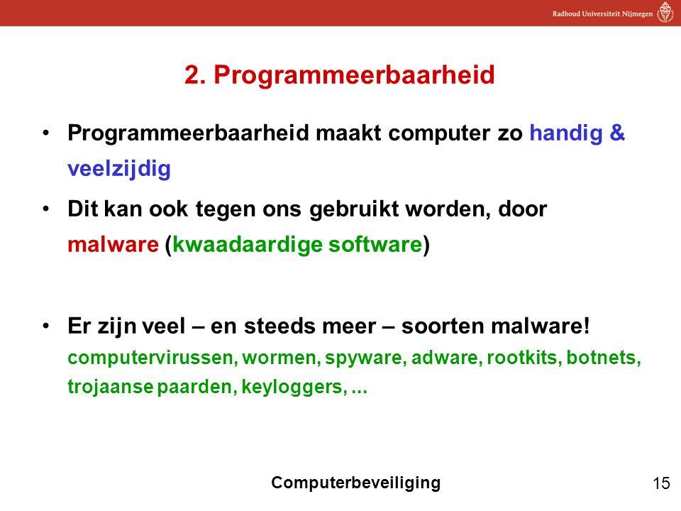 2. Programmeerbaarheid Programmeerbaarheid maakt computer zo handig & veelzijdig.