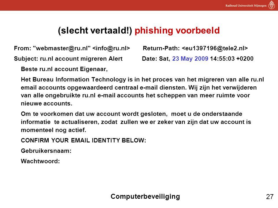 (slecht vertaald!) phishing voorbeeld