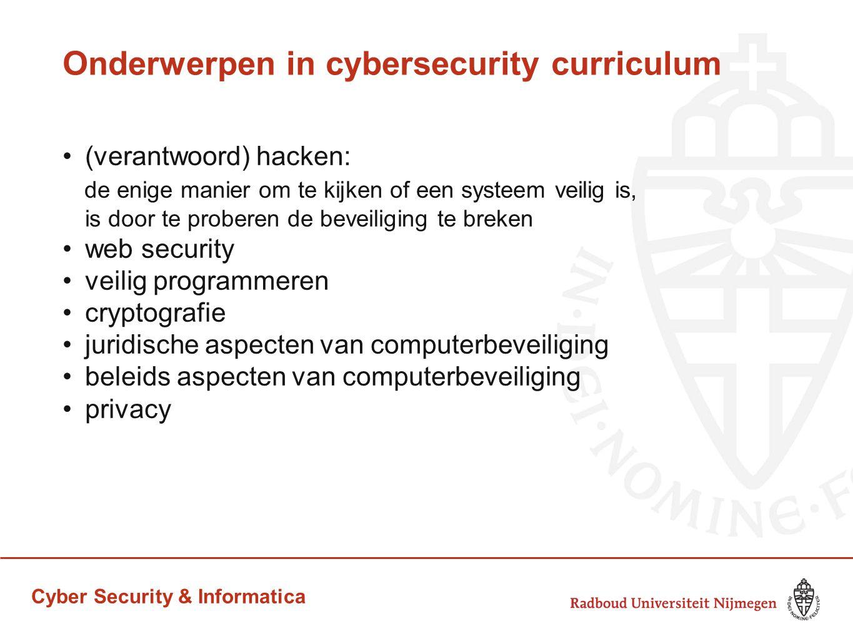 Onderwerpen in cybersecurity curriculum