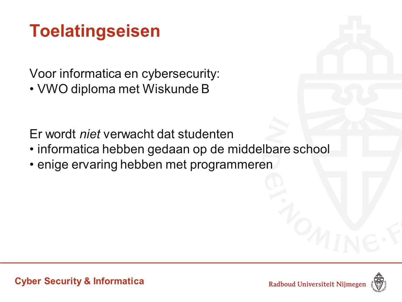 Toelatingseisen Voor informatica en cybersecurity:
