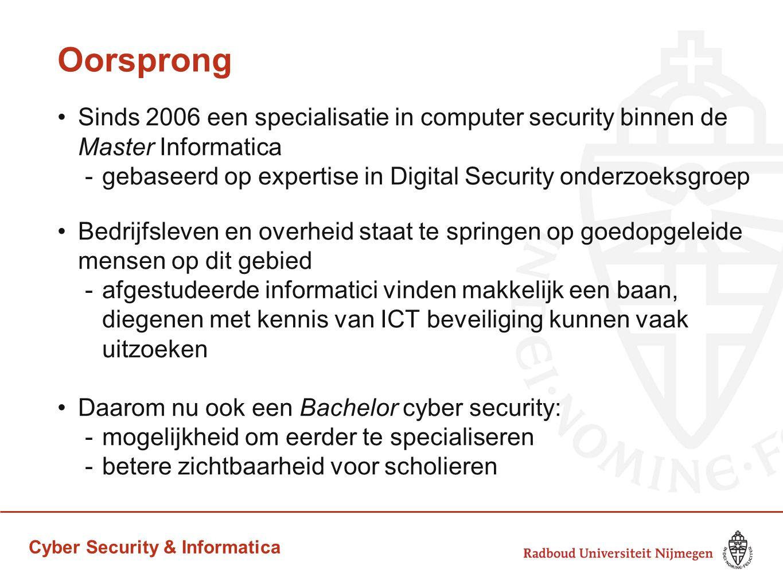 Oorsprong Sinds 2006 een specialisatie in computer security binnen de Master Informatica. gebaseerd op expertise in Digital Security onderzoeksgroep.
