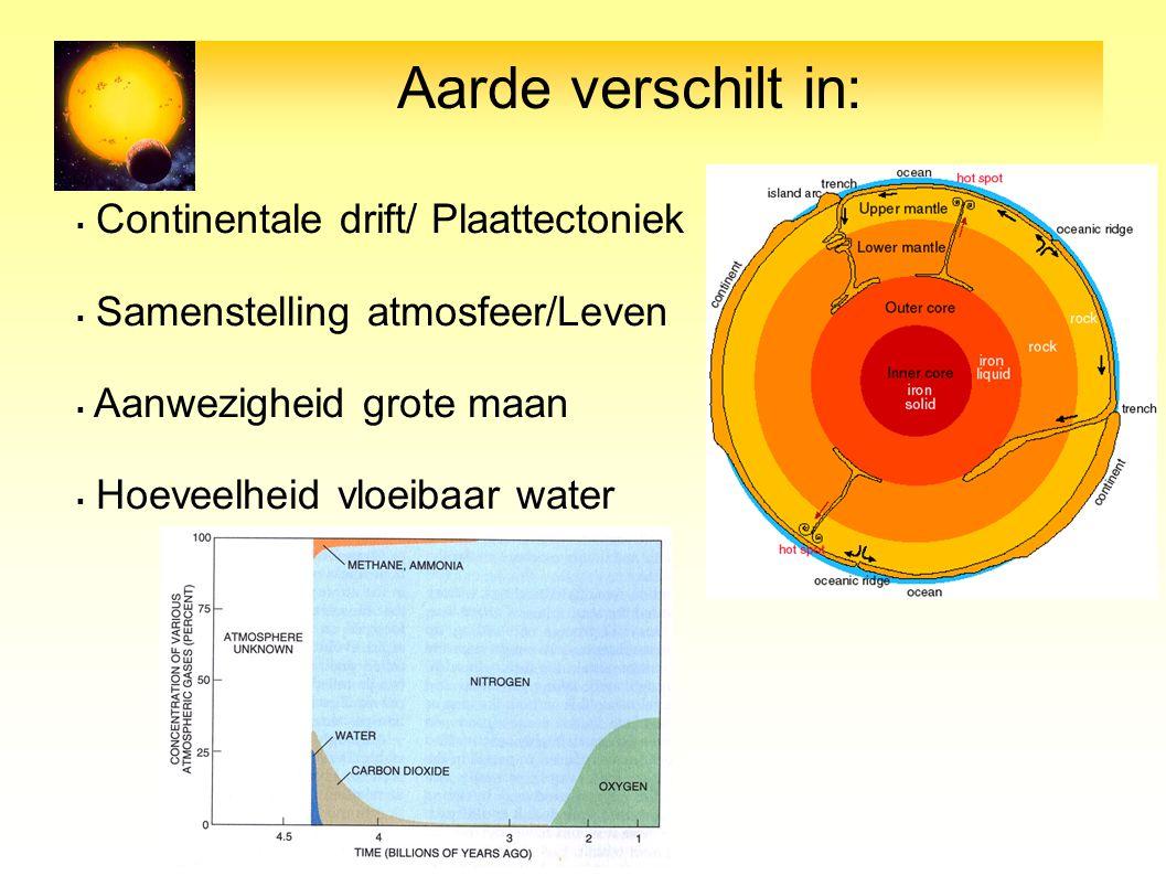Aarde verschilt in: Continentale drift/ Plaattectoniek