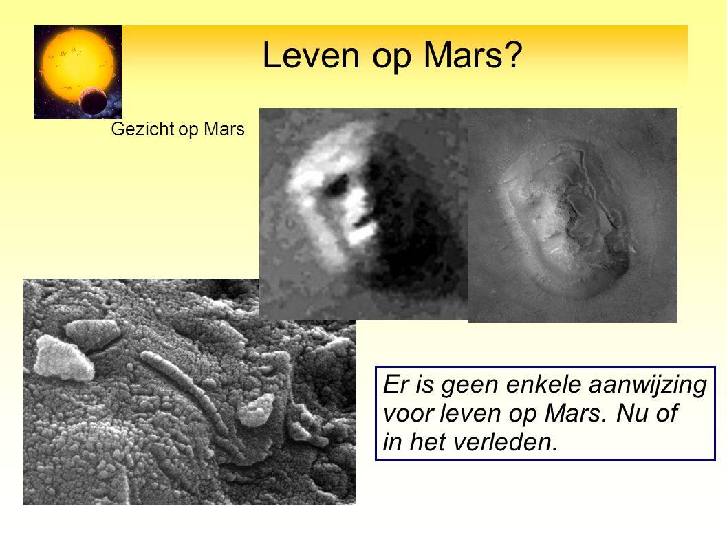 Leven op Mars Er is geen enkele aanwijzing voor leven op Mars. Nu of