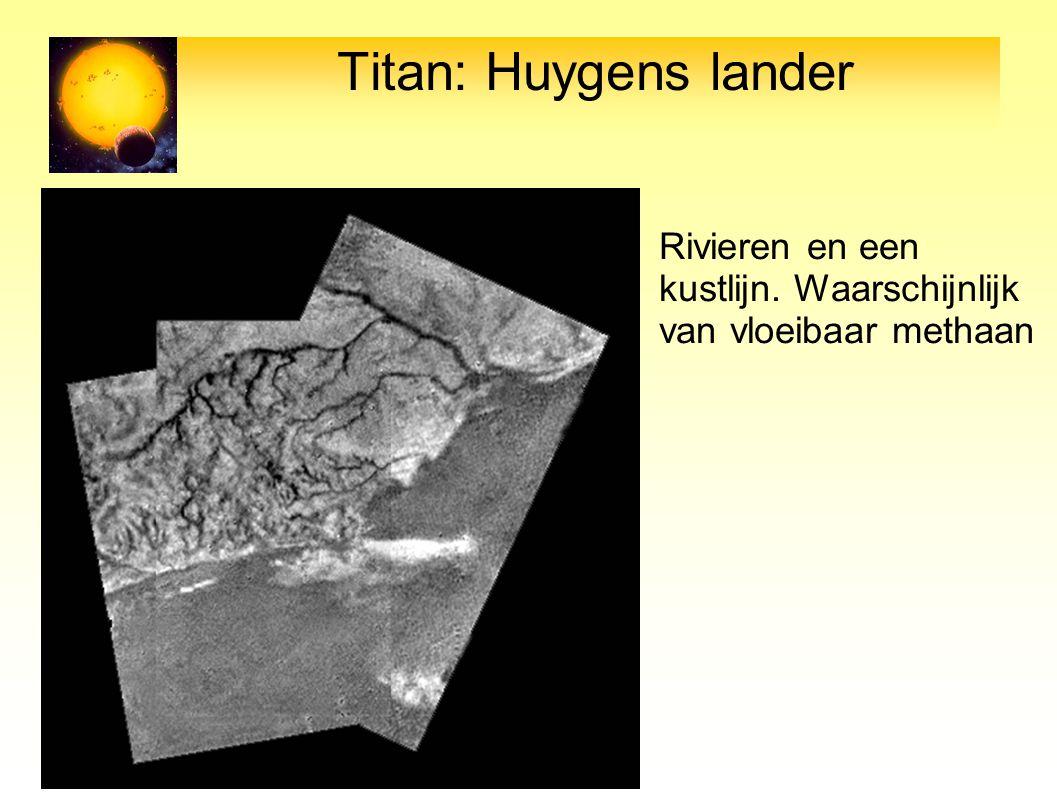 Titan: Huygens lander Rivieren en een kustlijn. Waarschijnlijk