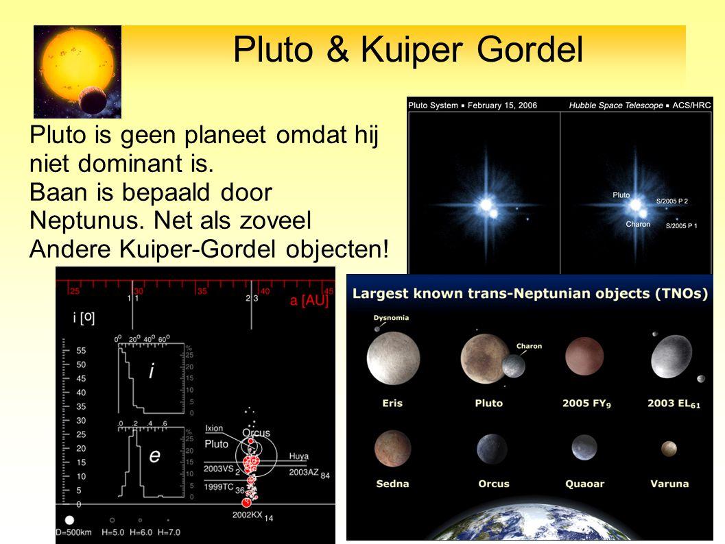 Pluto & Kuiper Gordel Pluto is geen planeet omdat hij niet dominant is. Baan is bepaald door Neptunus. Net als zoveel.