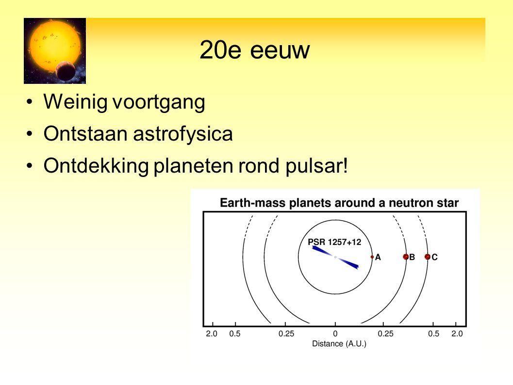 20e eeuw Weinig voortgang Ontstaan astrofysica