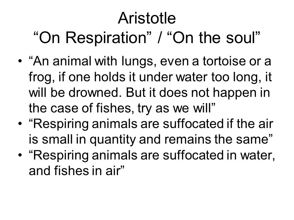 Aristotle On Respiration / On the soul