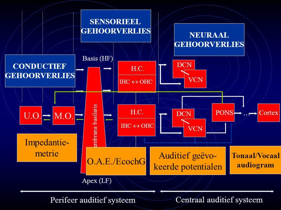 ... U.O. M.O. Impedantie- metrie Auditief geëvo- O.A.E./EcochG