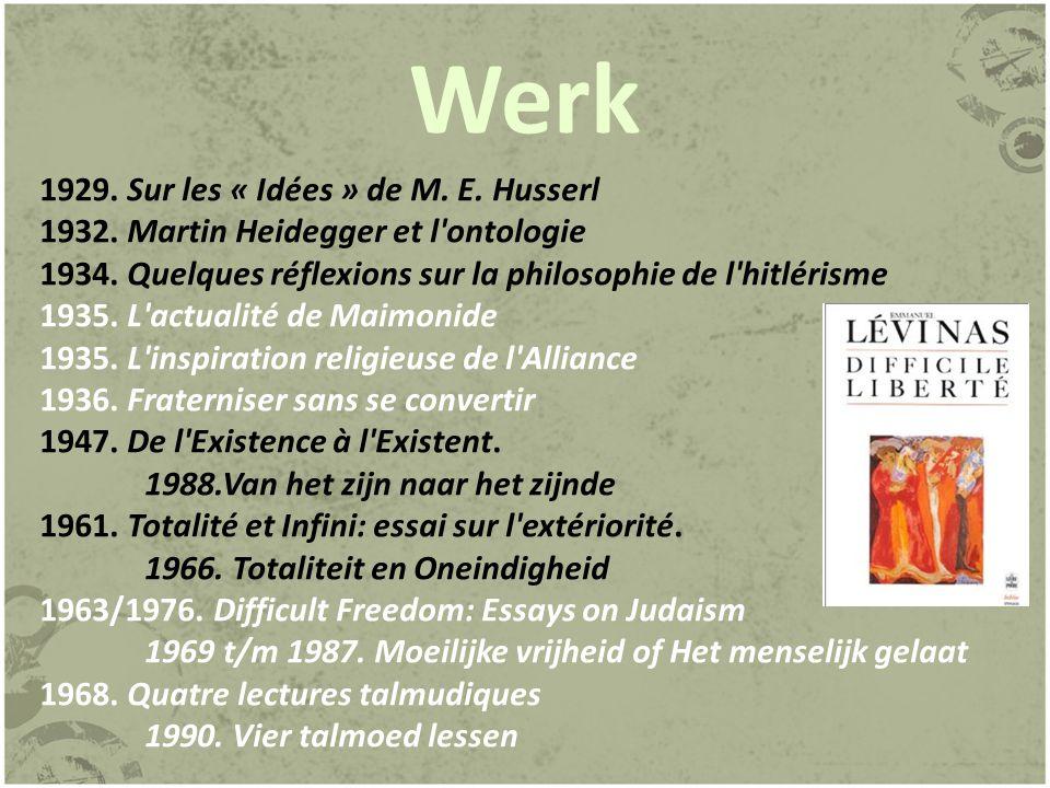 Werk 1929. Sur les « Idées » de M. E. Husserl
