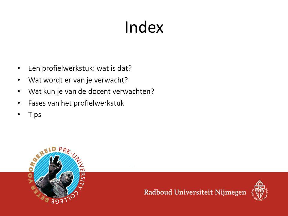 Index Een profielwerkstuk: wat is dat Wat wordt er van je verwacht