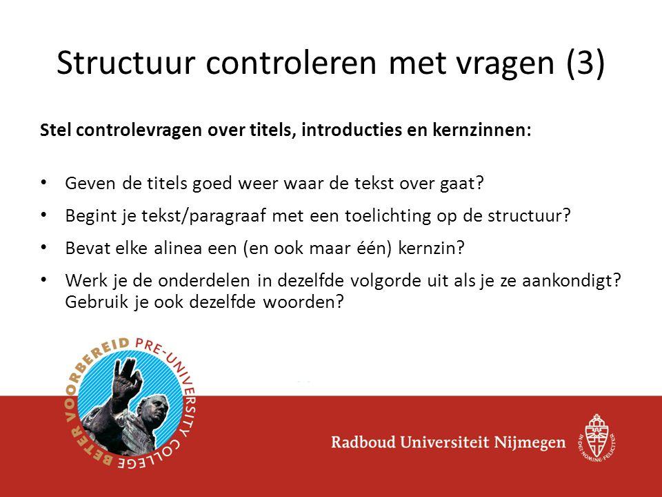 Structuur controleren met vragen (3)