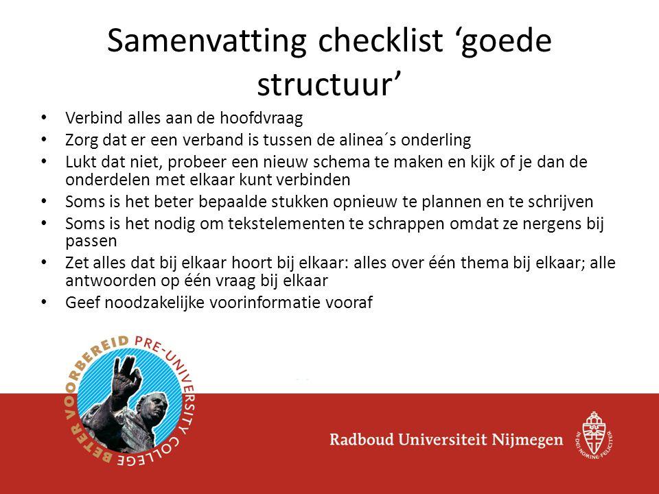 Samenvatting checklist 'goede structuur'