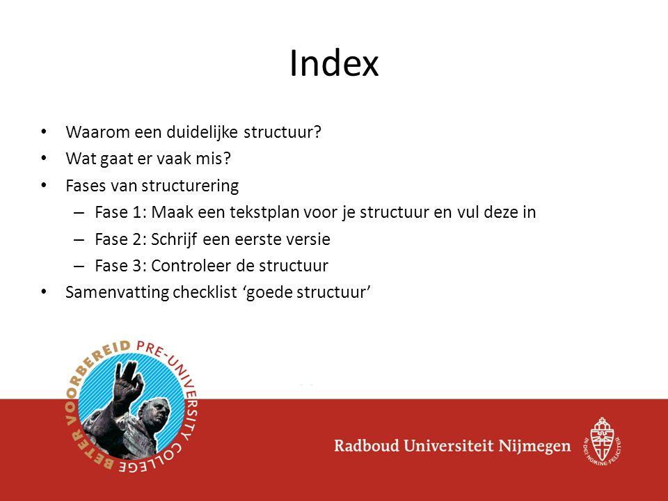 Index Waarom een duidelijke structuur Wat gaat er vaak mis