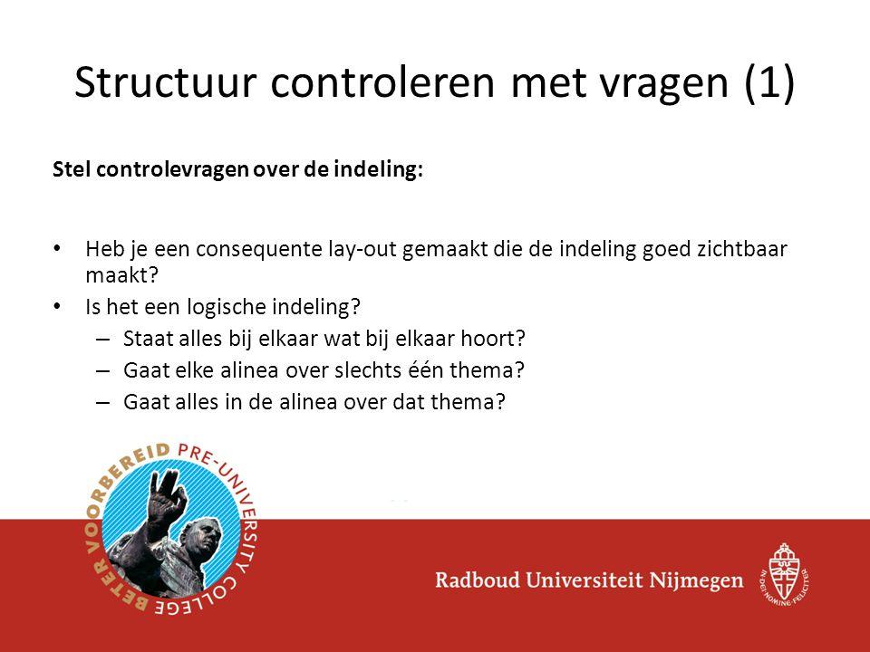 Structuur controleren met vragen (1)