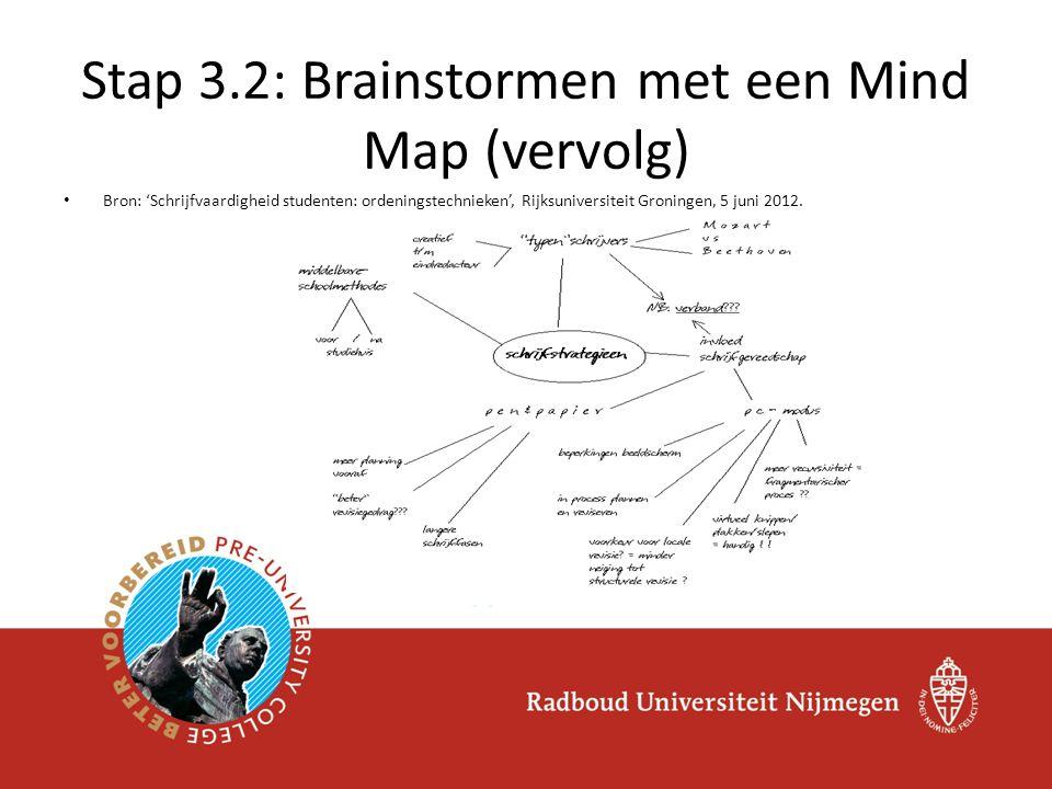 Stap 3.2: Brainstormen met een Mind Map (vervolg)