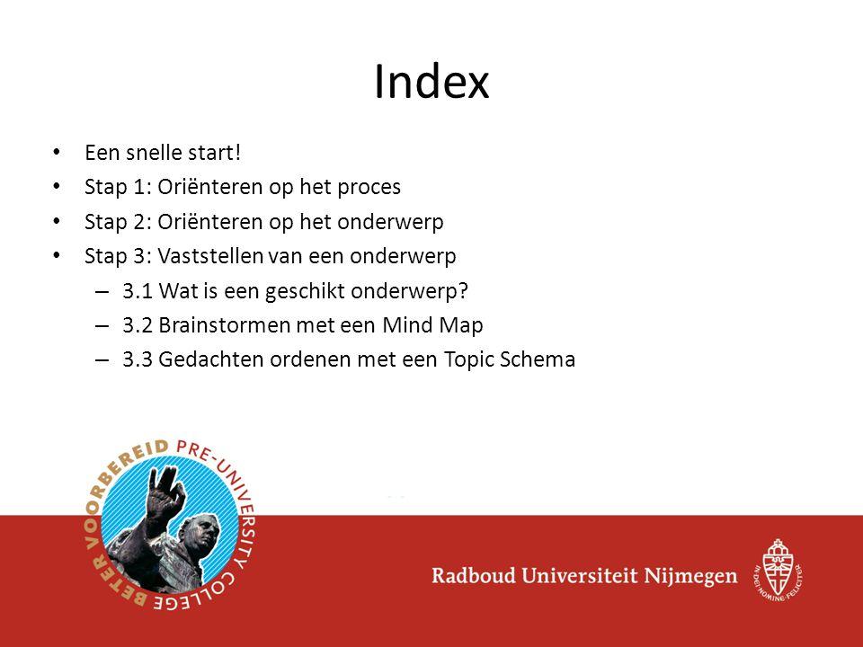 Index Een snelle start! Stap 1: Oriënteren op het proces