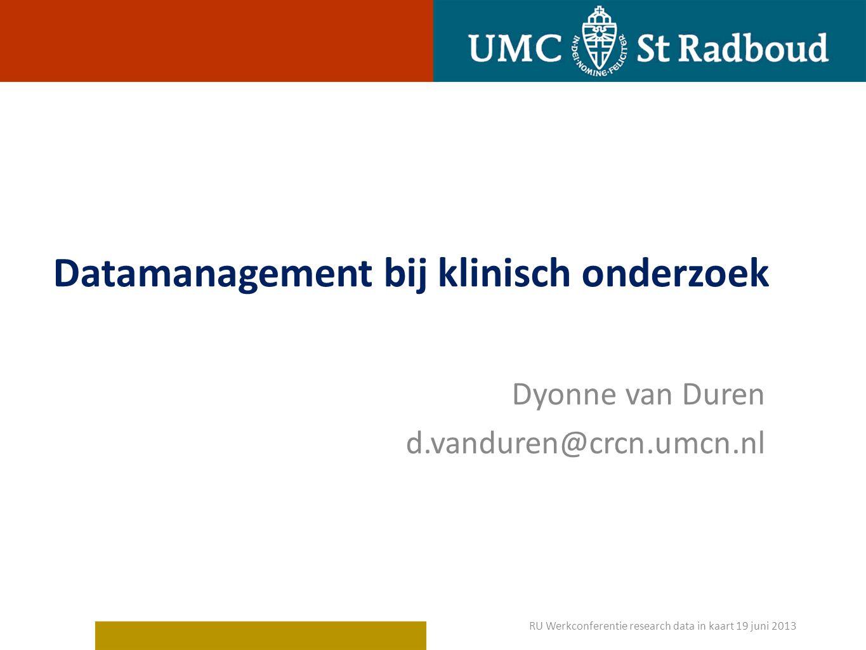 Datamanagement bij klinisch onderzoek