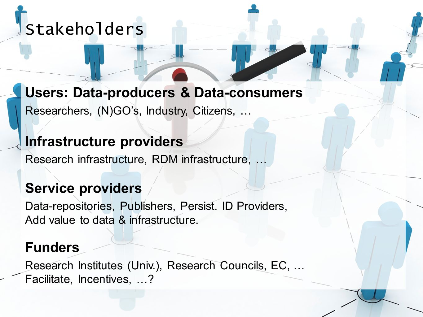 Stakeholders Users: Data-producers & Data-consumers