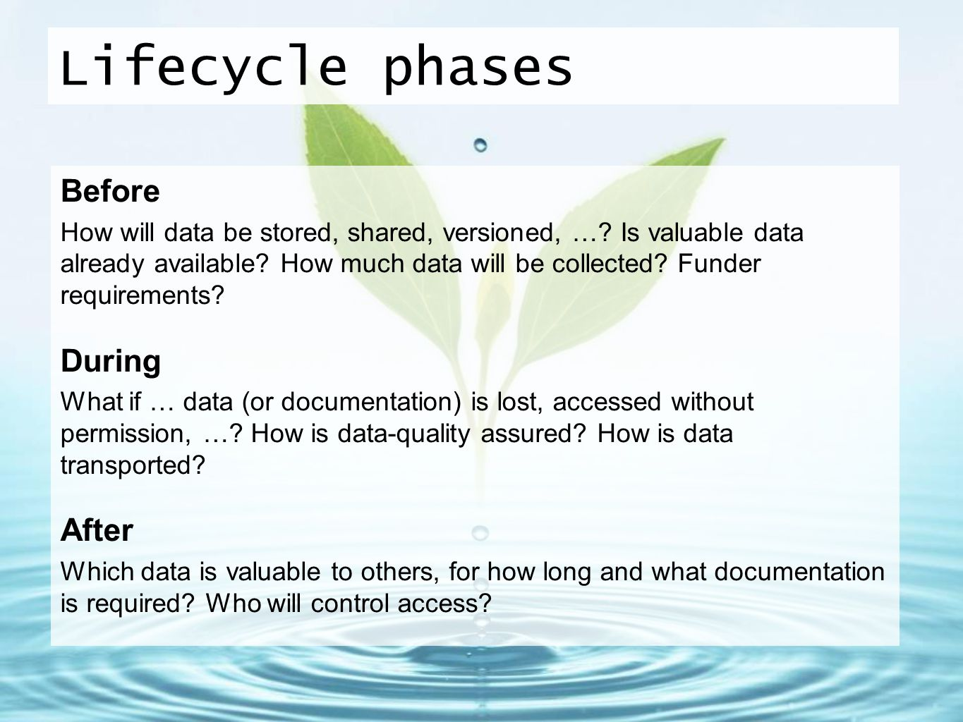 Lifecycle phases Before During After