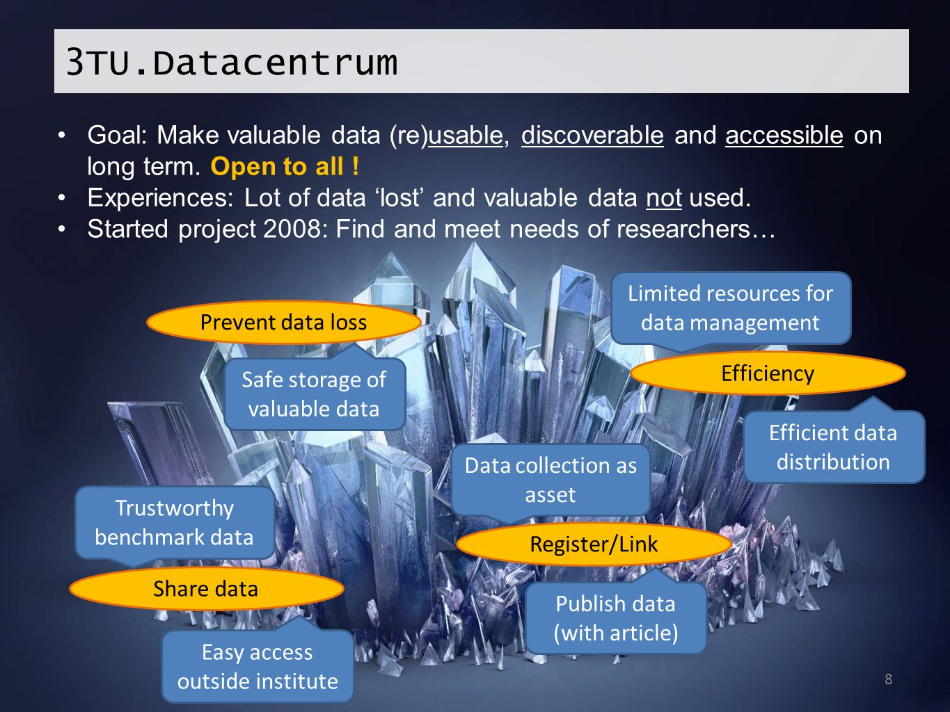 3TU.Datacentrum Goal: Make valuable data (re)usable, discoverable and accessible on long term. Open to all !