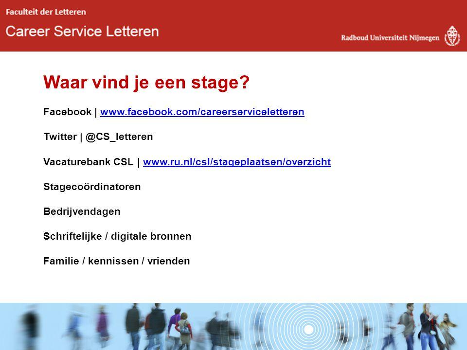 Waar vind je een stage. Facebook | www. facebook