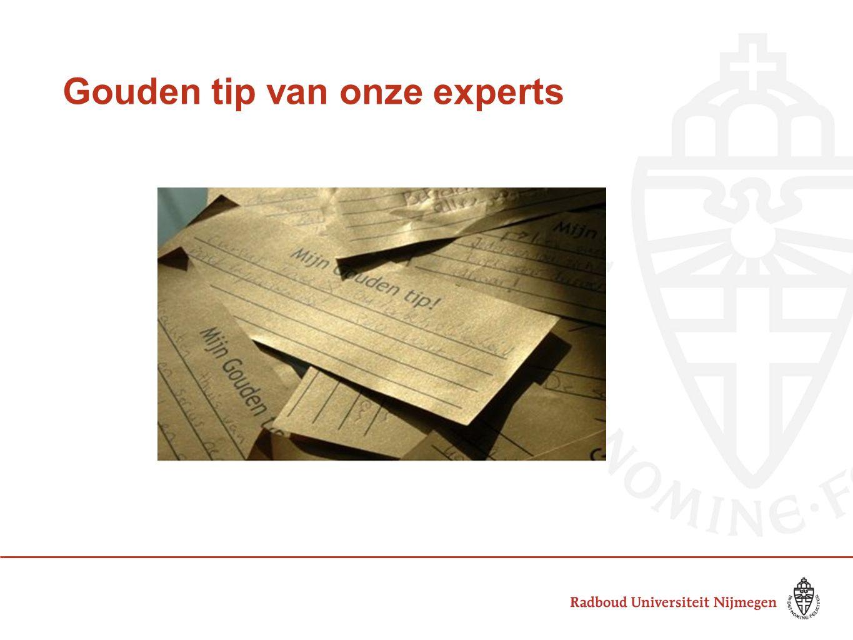 Gouden tip van onze experts