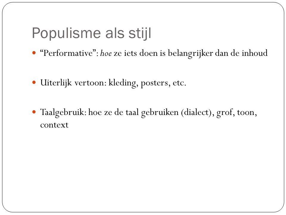 Populisme als stijl Performative : hoe ze iets doen is belangrijker dan de inhoud. Uiterlijk vertoon: kleding, posters, etc.
